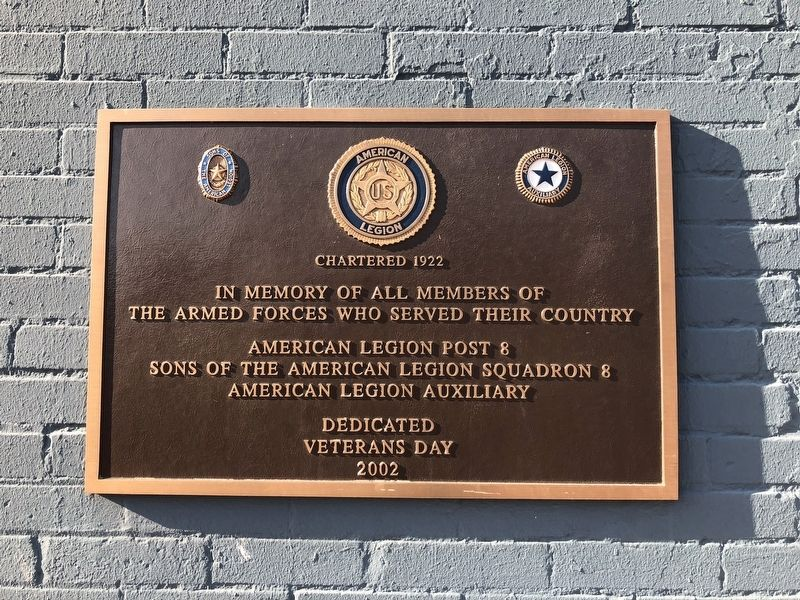 American Legion Post 8 Marker image. Click for full size.