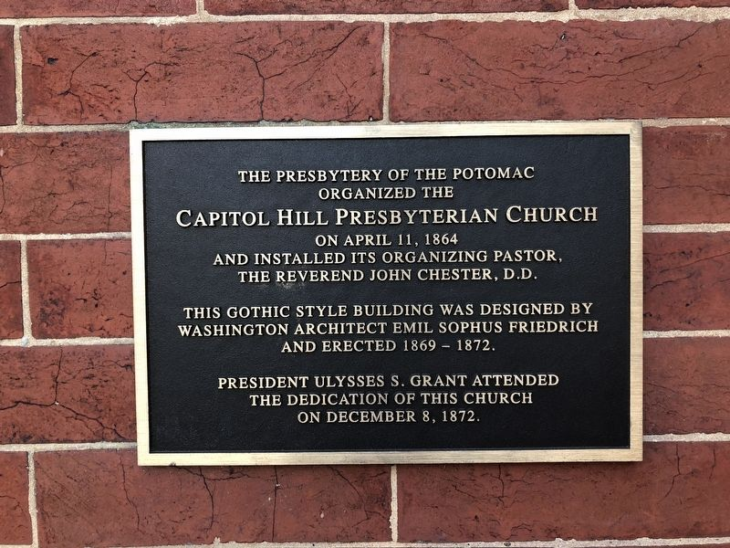 Capitol Hill Presbyterian Church Marker image. Click for full size.