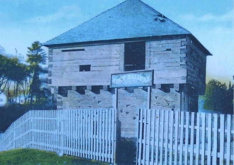 Marker detail: the blockhouse (<i>a post card image from the early 1900s</i>) image. Click for full size.