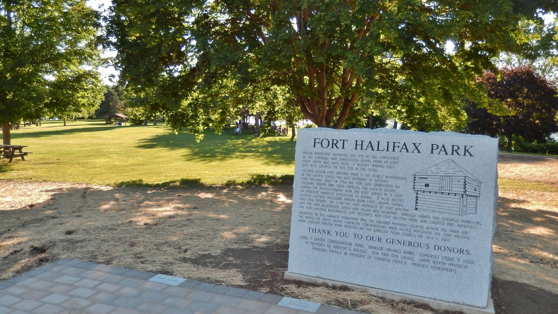 Fort Halifax Park Marker (<i>wide view</i>) image. Click for full size.