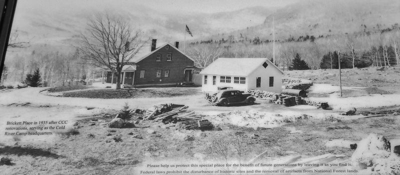 Marker detail: Brickett Place in 1935 after CCC renovations; CCC Cold River Camp Headquarters image. Click for full size.