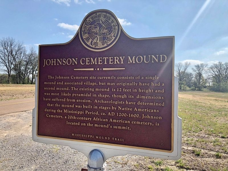 Johnson Cemetery Mound Marker (front) image. Click for full size.