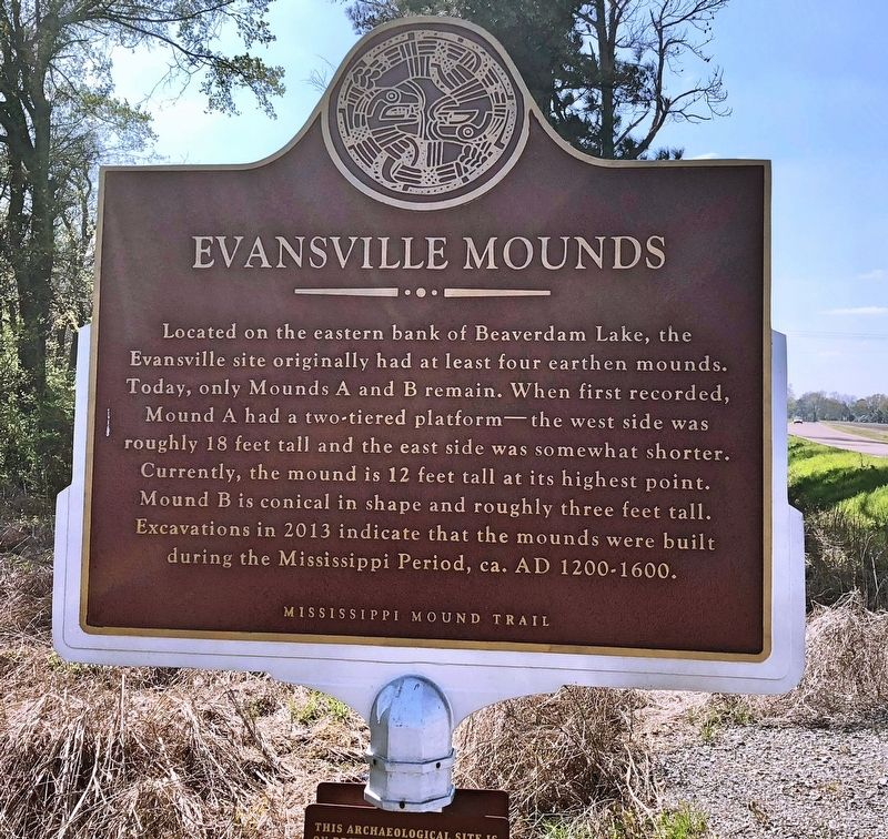 Evansville Mounds Marker (front) image. Click for full size.
