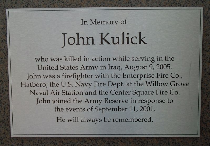 John Kulick Memorial Marker image. Click for full size.