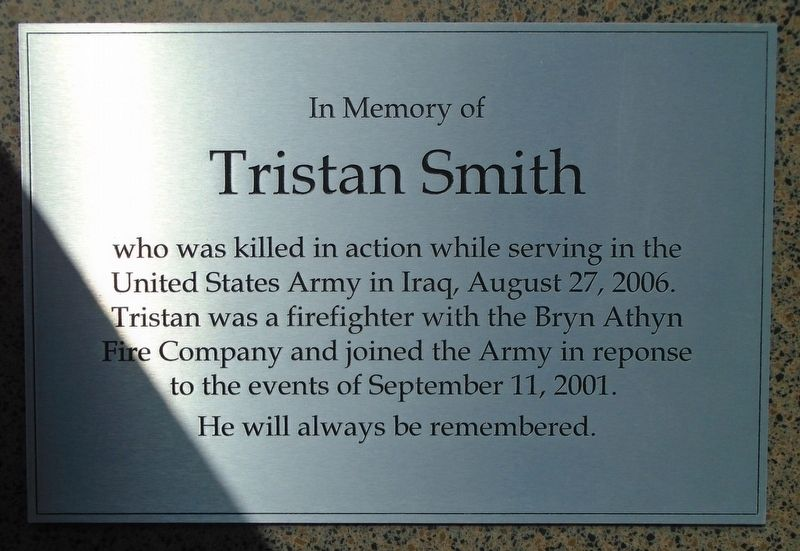 Tristan Smith Memorial Marker image. Click for full size.
