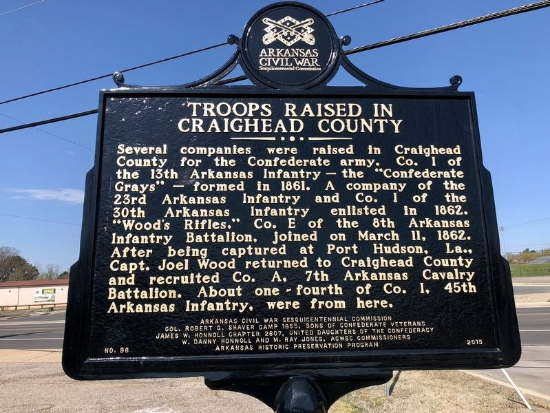 Troops Raised in Craighead County Marker image. Click for full size.