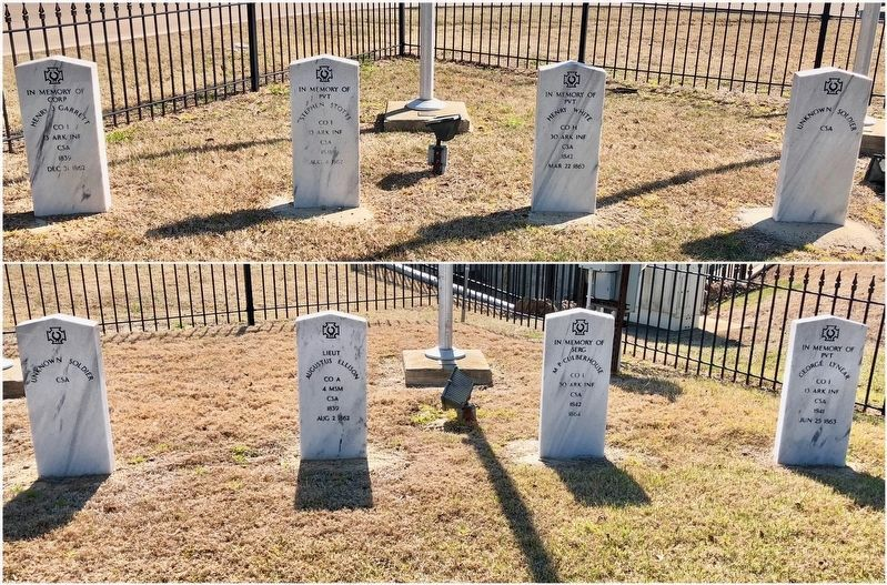 Closeup of CSA grave markers/cenotaphs at the park. image. Click for full size.