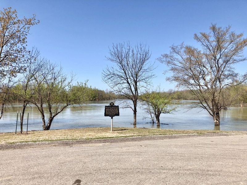 View of the marker with the flooded White River in background. image. Click for full size.
