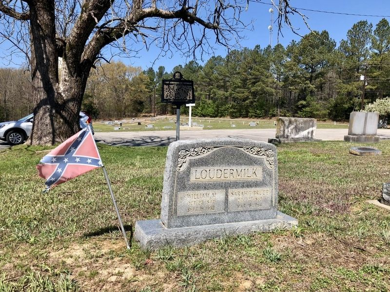 View from grave of William Loudermilk with the marker behind. image. Click for full size.