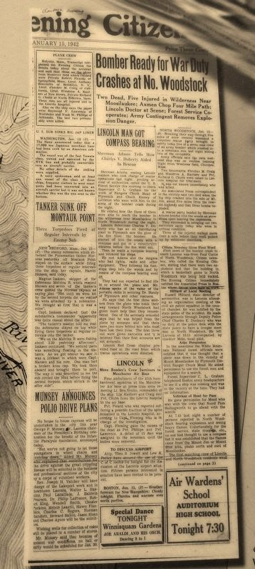 Marker detail: Newspaper Article from following day (January 15, 1942) image. Click for full size.
