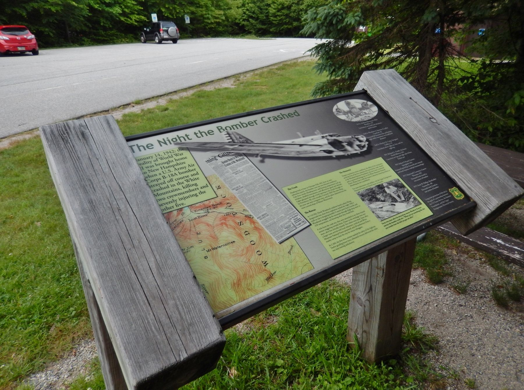The Night the Bomber Crashed Marker (<i>wide view; Beaver Brook Trail parking lot in background</i>) image. Click for full size.
