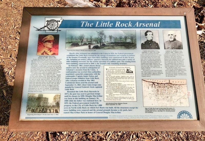 Another, nearby, marker about the Little Rock Arsenal. image. Click for full size.