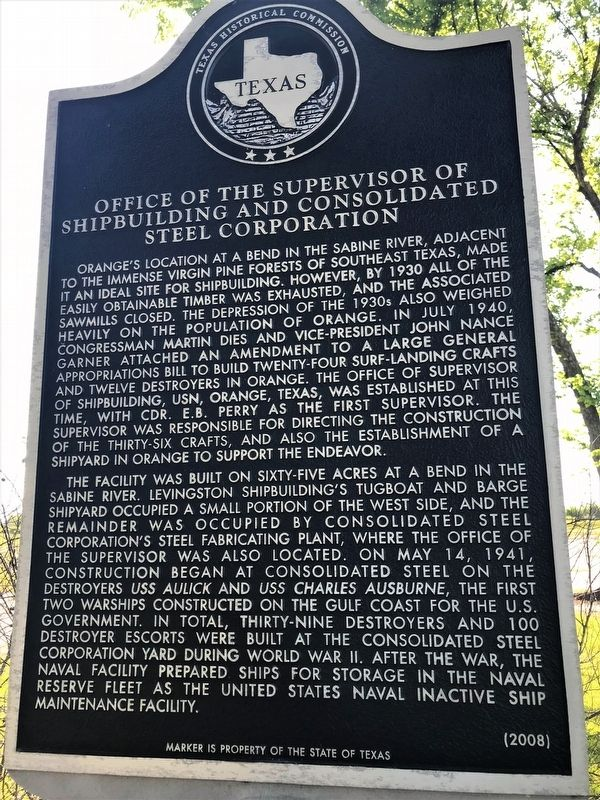Office of the Supervisor of Shipbuilding and Consolidated Steel Corporation Marker image. Click for full size.