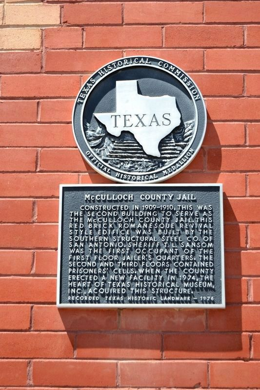 McCulloch County Jail Marker image. Click for full size.