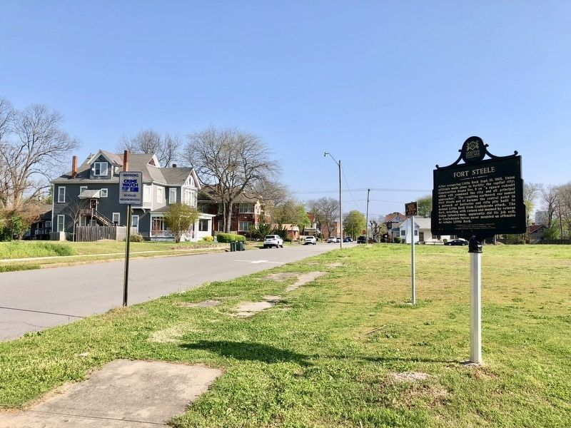 View of marker looking north on South Gaines Street. image. Click for full size.