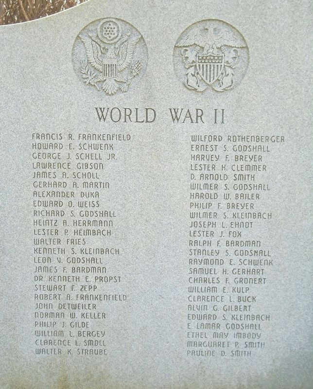 World Wars Memorial WWII Honor Roll image. Click for full size.