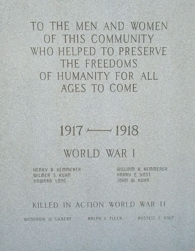 World Wars Memorial WWI Honor Roll and WWII Honored Dead image. Click for full size.