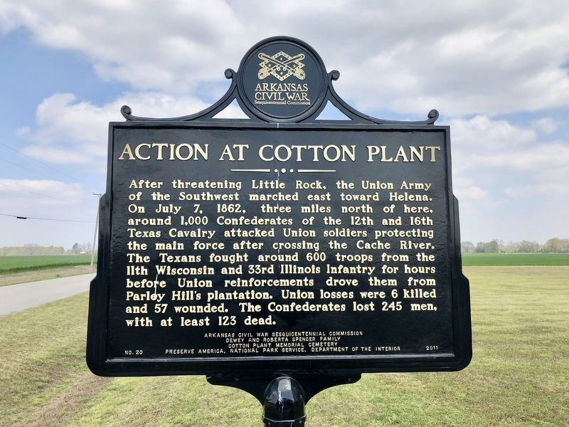 Action at Cotton Plant Marker image. Click for full size.