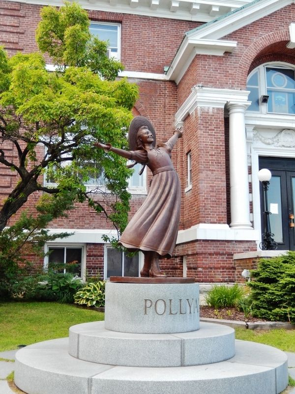 "Littleton Public Library (<i>""Pollyanna"" Statue in front of library</i>) image. Click for full size."