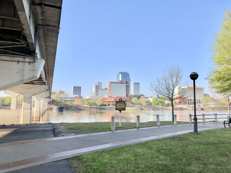 View of marker looking at Little Rock and along the Main Street bridge. image. Click for full size.
