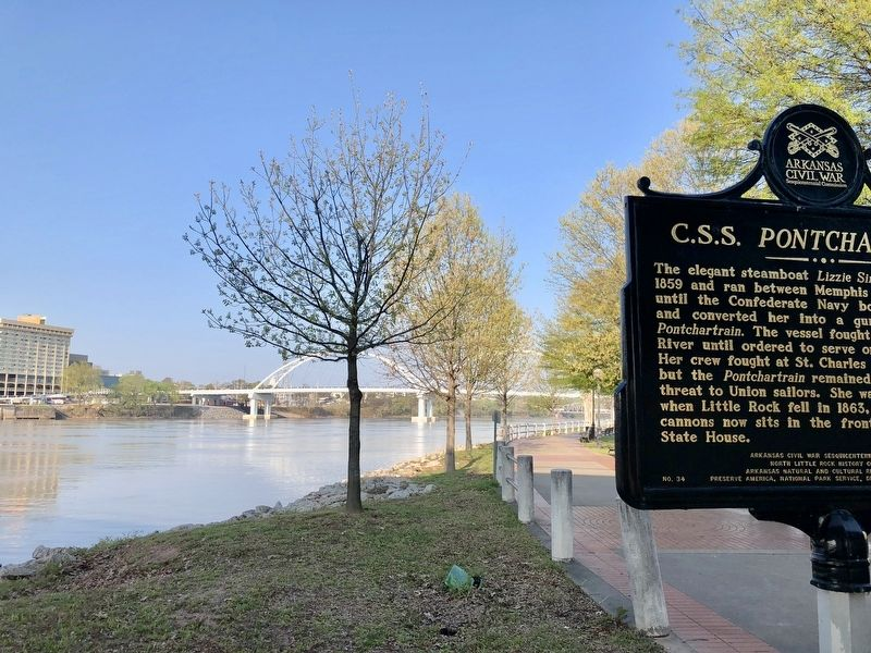 View west at the Arkansas River and the Broadway Bridge. image. Click for full size.