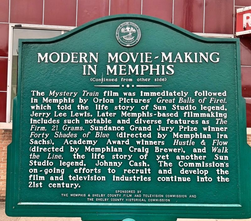 Modern Movie~Making In Memphis Marker (rear) image. Click for full size.
