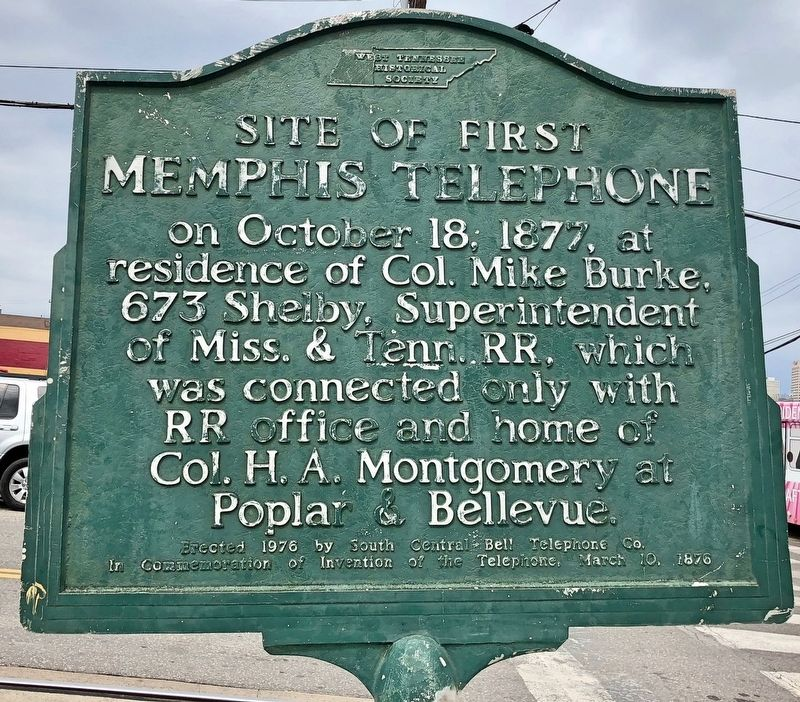Site of First Memphis Telephone Marker image. Click for full size.