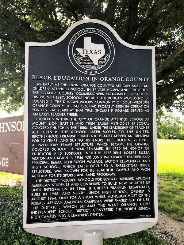 Black Education in Orange County Marker image. Click for full size.
