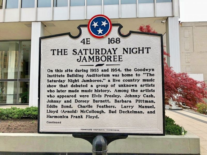The Saturday Night Jamboree Marker (front) image. Click for full size.