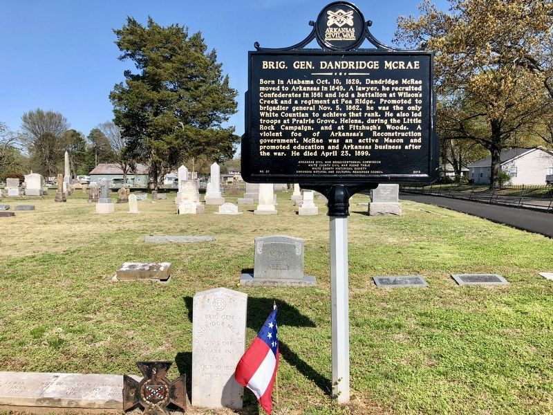 Brig. Gen. Dandridge McRae marker and his grave marker. image. Click for full size.