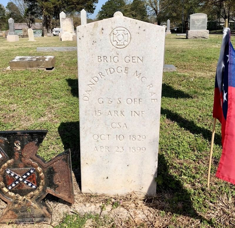Closeup of Brig. Gen. Dandridge McRae's grave marker. image. Click for full size.
