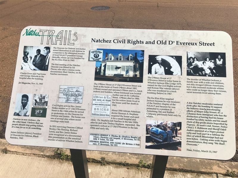 Natchez Civil Rights and Old D'Evereux Street Marker image. Click for full size.