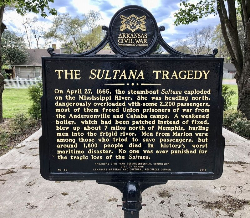 The <i>Sultana</i> Tragedy Marker image. Click for full size.