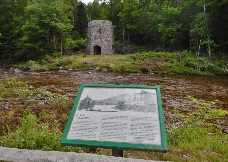 Early Franconia Marker (<i>wide view; Gale River & Stone Iron Furnace ruins in background</i>) image. Click for full size.