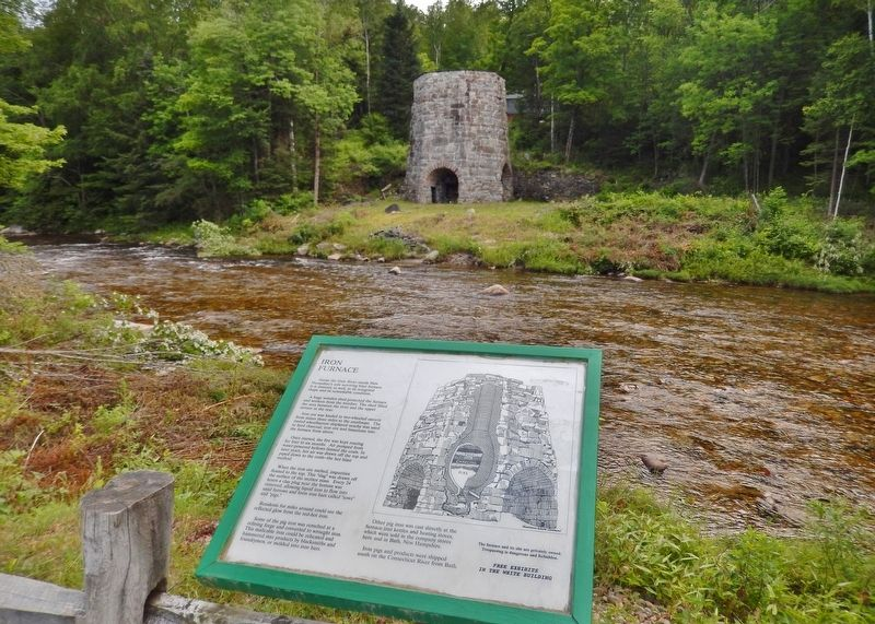 Iron Furnace Marker (<i>wide view; Gale River & Iron Furnace ruins in background</i>) image. Click for full size.