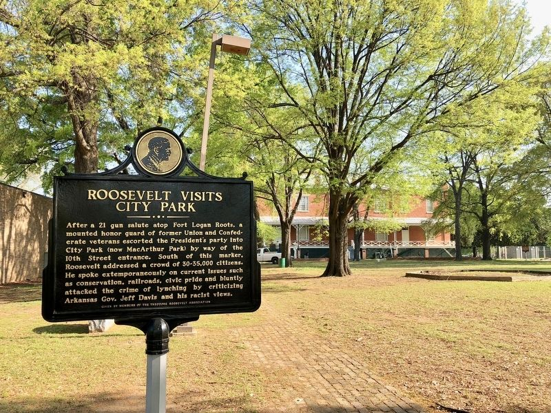 Roosevelt Visits Little Rock Marker looking north toward the MacArthur History Museum. image. Click for full size.