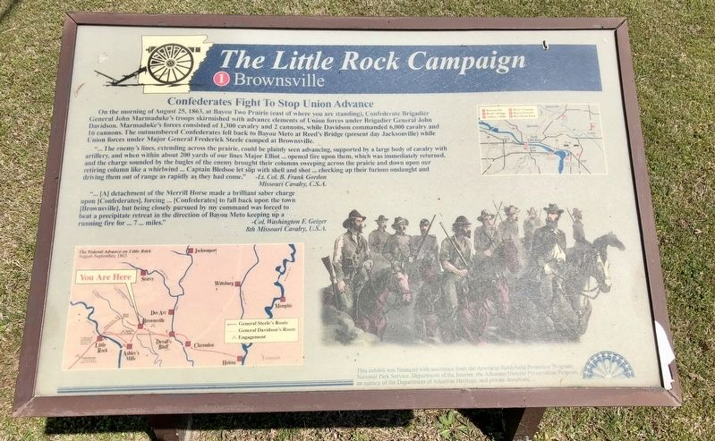 The Little Rock Campaign - Brownsville Marker image. Click for full size.