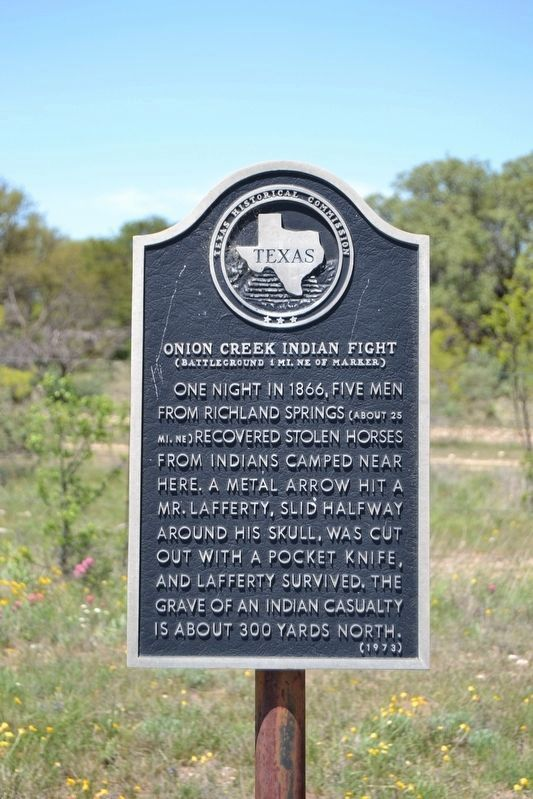 Onion Creek Indian Fight Marker image. Click for full size.