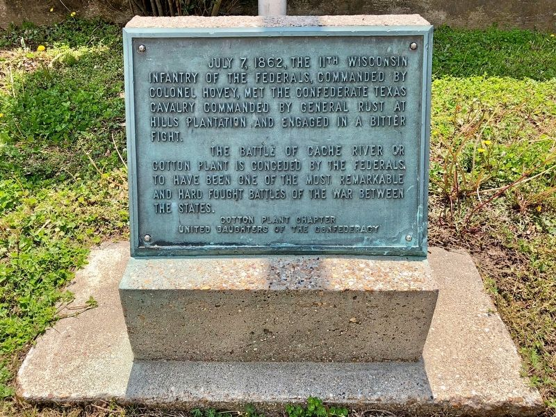The Battle of Cache River or Cotton Plant Marker image. Click for full size.