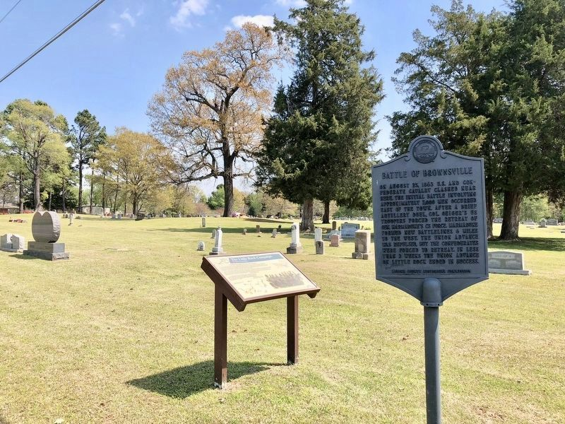 The Battle of Brownsville marker looking in direction of initial skirmish. image. Click for full size.