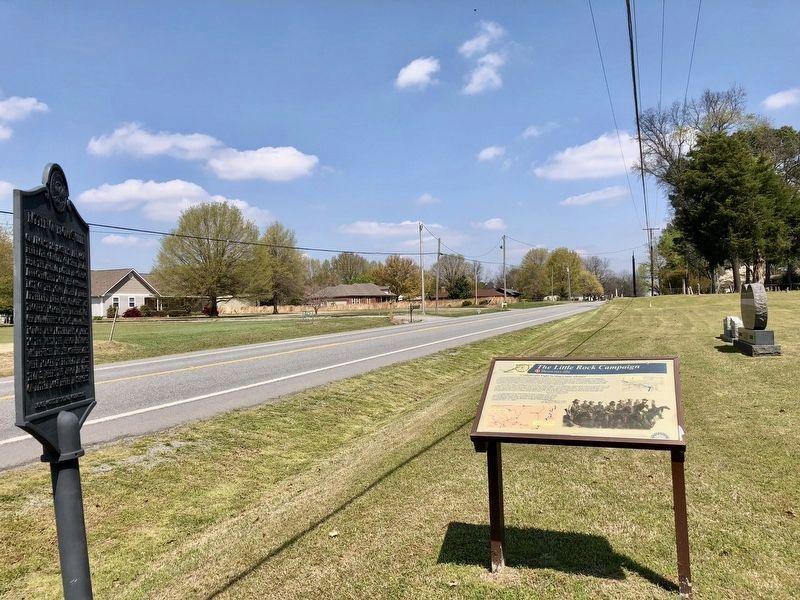 Battle of Brownsville marker looking north on Arkansas Highway 31. image. Click for full size.