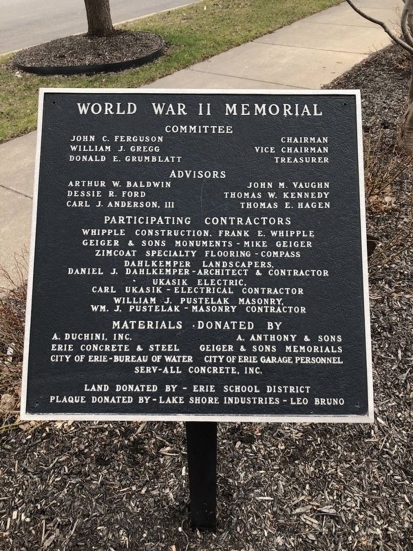 Erie County World War II Memorial Marker image. Click for full size.