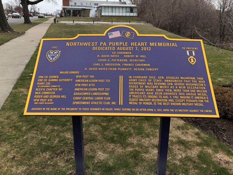 Northwest PA Purple Heart Memorial Marker image. Click for full size.