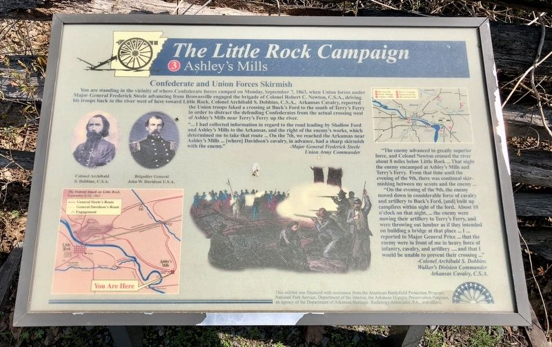 The Little Rock Campaign - Ashley's Mills Marker image. Click for full size.