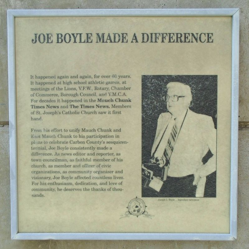 Joe Boyle Plaza - Joe Boyle Made A Difference Marker image. Click for full size.