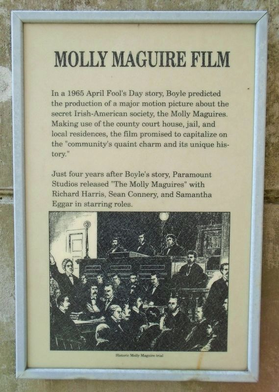 Joe Boyle Plaza - Molly Maguire Film Marker image. Click for full size.