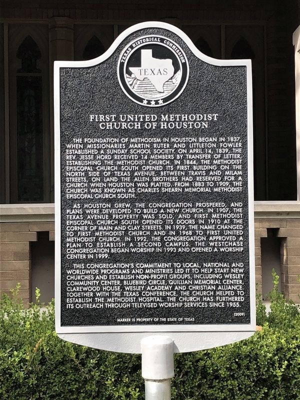 First United Methodist Church of Houston Marker image. Click for full size.