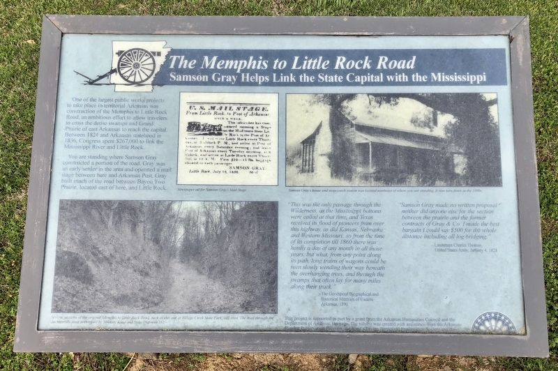 <i>The Memphis to Little Rock Railroad</i> Marker image. Click for full size.