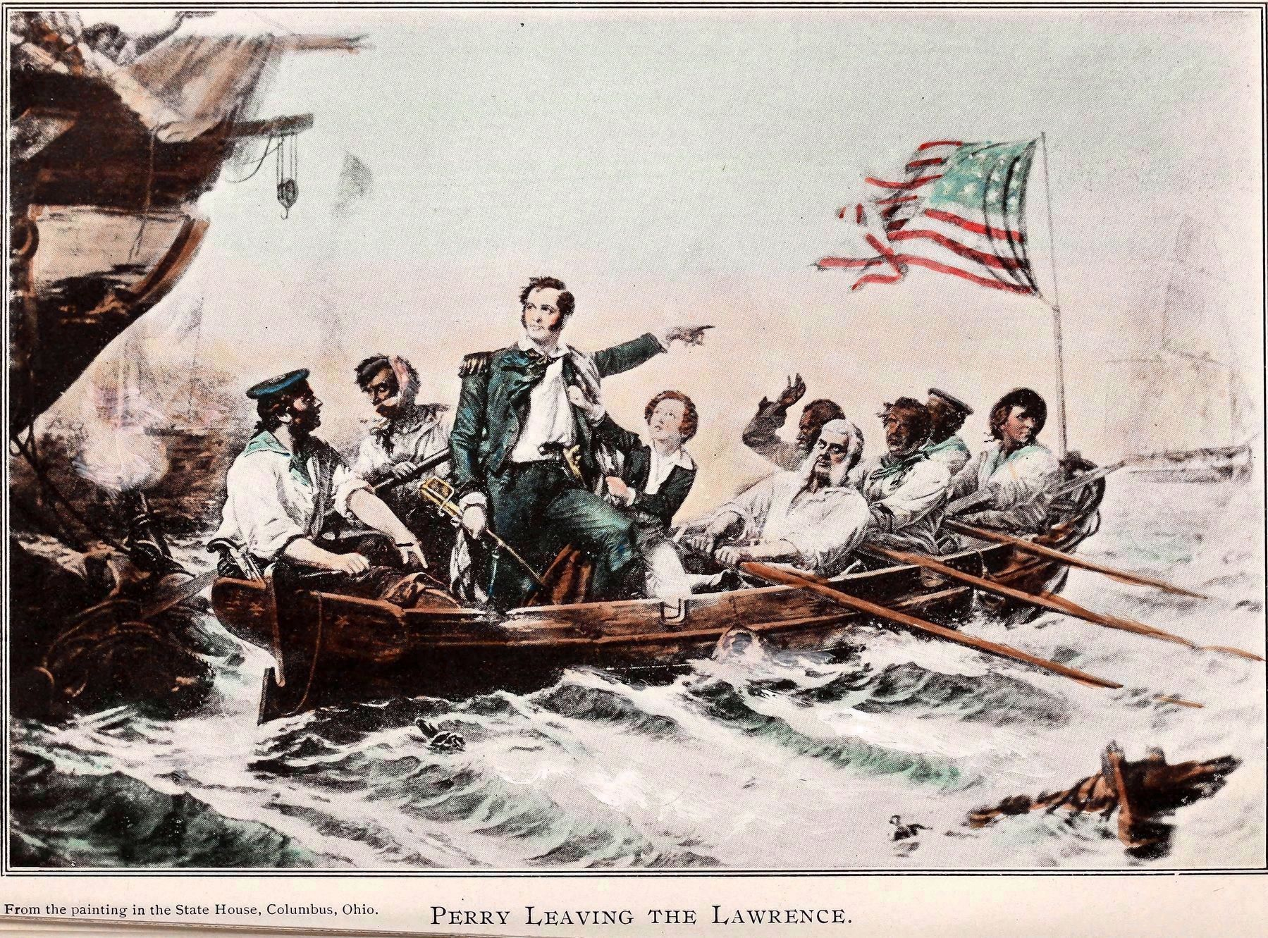 Perry Leaving the Lawrence<br>From a Painting in the Statehouse, Columbus Ohio image. Click for full size.