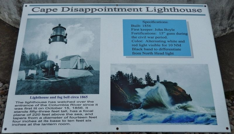 Cape Disappointment Lighthouse Marker image. Click for full size.